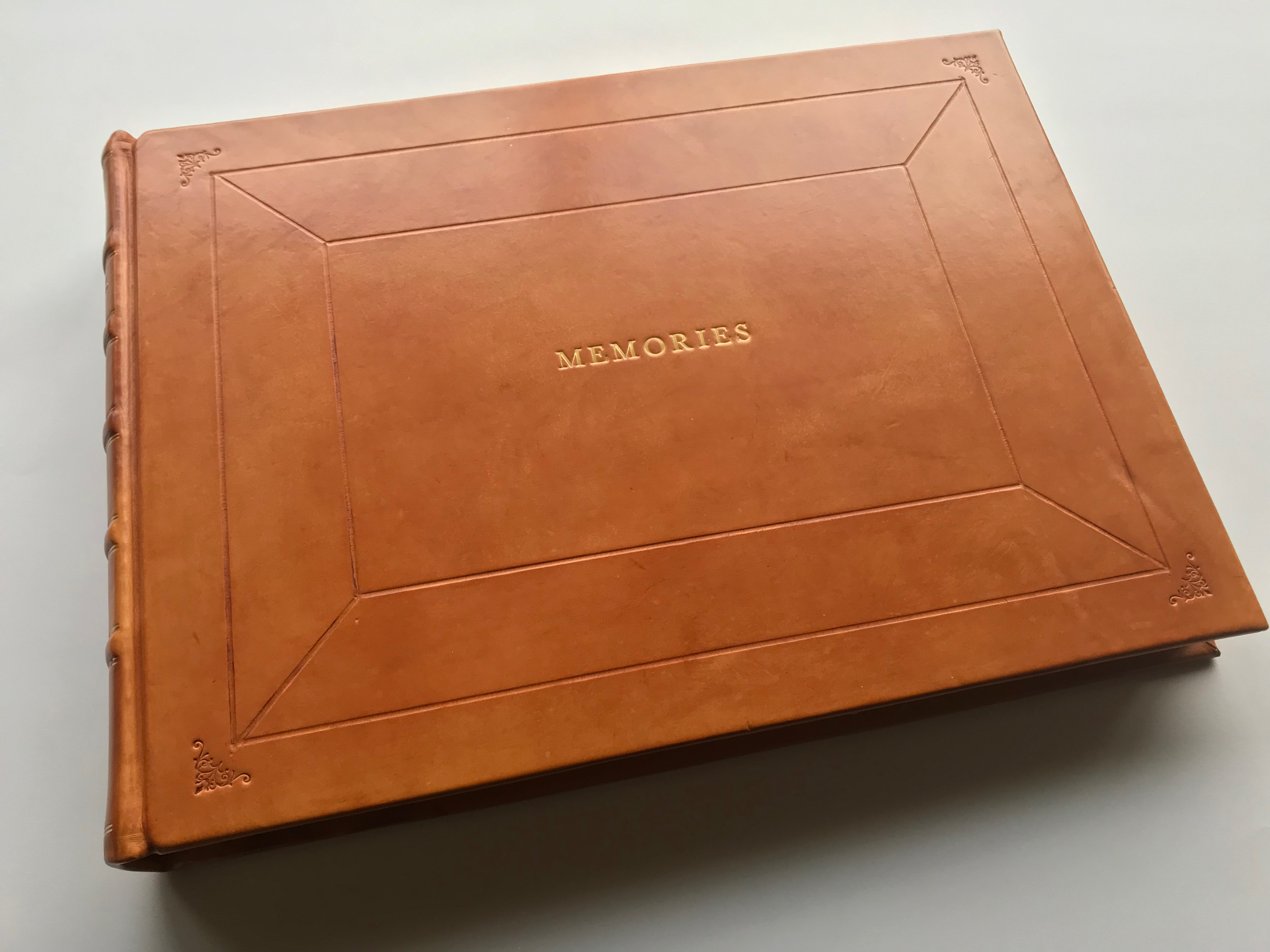 Brown 2 Lines Personalized Library Leather Album